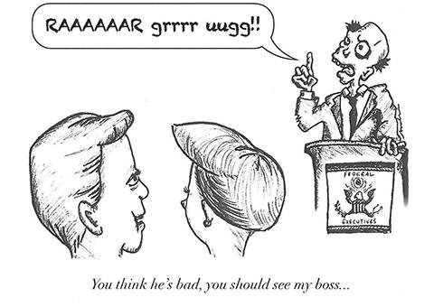 zombie management political cartoon